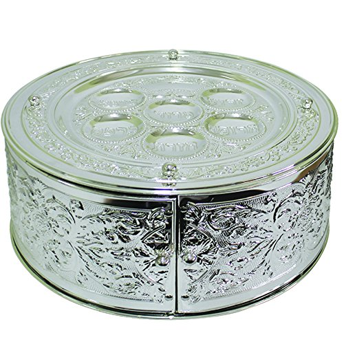 Passover 3 Tier Silver Plated Seder Plate, 14 by 7-Inch, SPTF11052