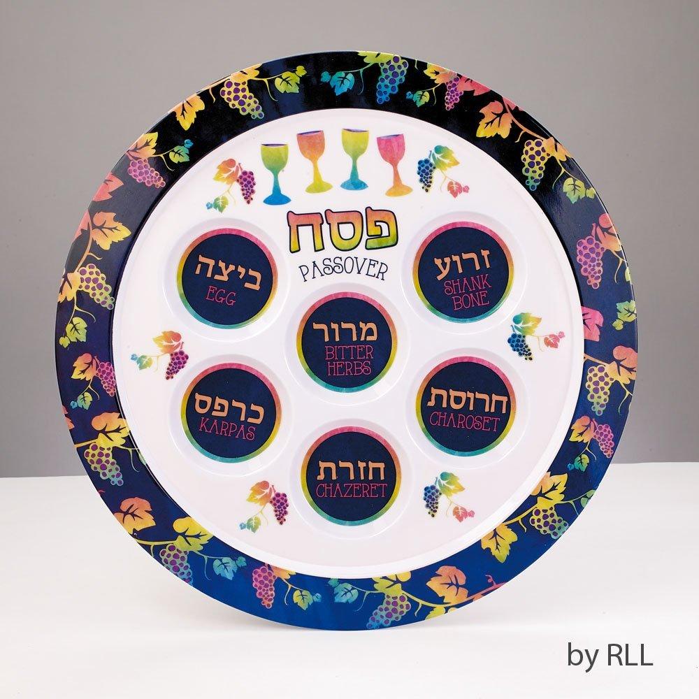 """Passover Pastels"" Seder Plate Melamine 12""round"