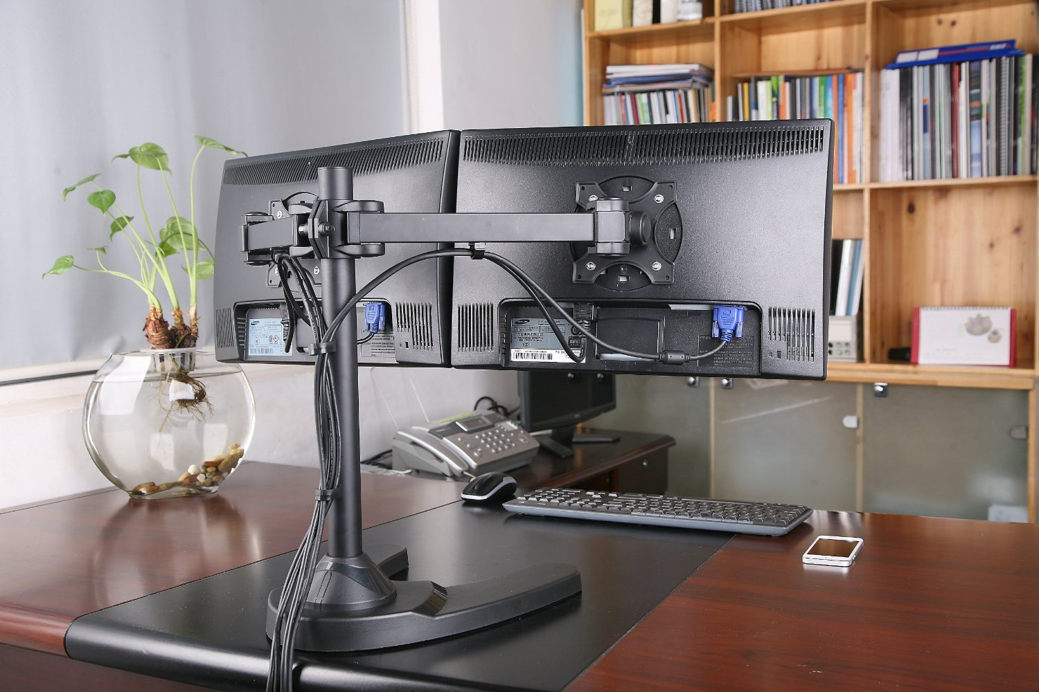 Freestanding Dual/Two LCD Monitor Desk Stand | Haltermount ...
