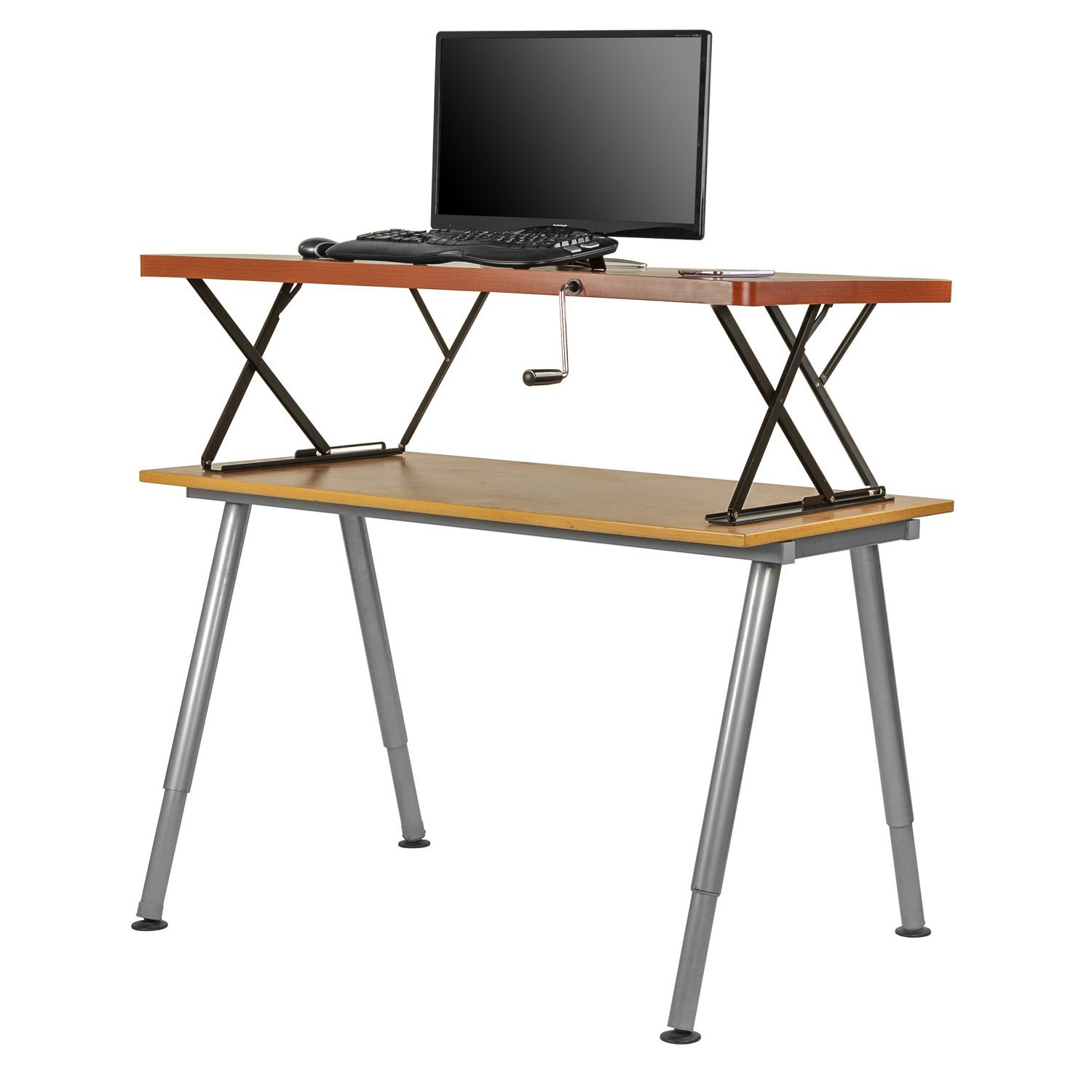 Manual Adjustable Height Table Top Sit / Stand Desk-Cherry ...