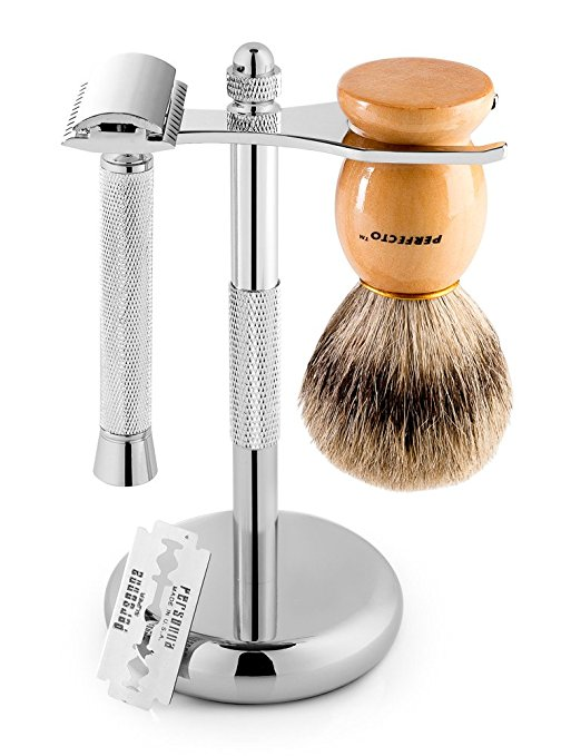 DELUXE SHAVING KIT CONTAINS A 100% BADGER SHAVING BRUSH; A CHROME DOUBLE EDGE SAFETY RAZOR, AND A STAND FOR THE RAZOR AND BRUSH.