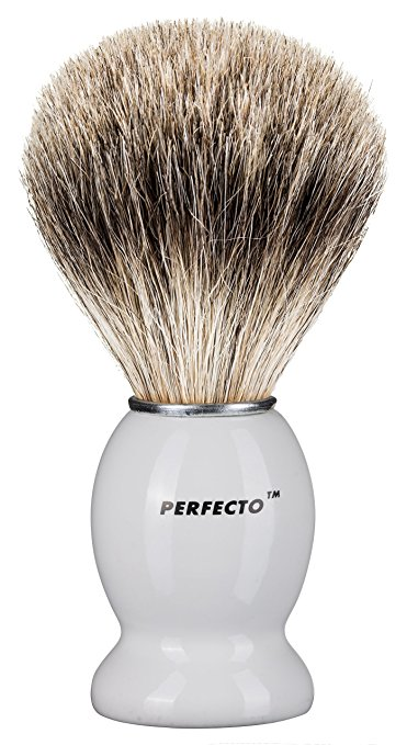 White Handle Pure Badger Shaving Brush